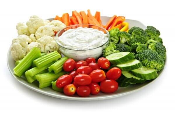 healthy party snacks and dip